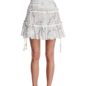 See By Chloe Tiered Floral A-Line Skirt Off White